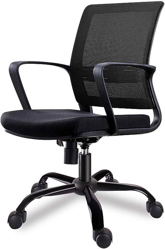 SMUGDESK Mid Back Big Ergonomic Office Lumbar Support Mesh Computer Desk Task Chair With Armrests