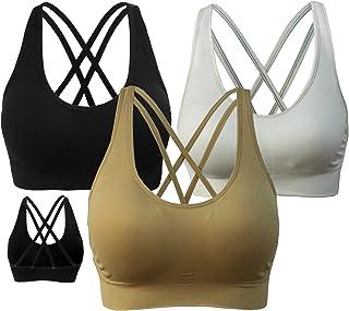 ff80c5ecaa AKAMC Women s Removable Padded Sports Bras Medium Support Workout Yoga Bra  3 Pack