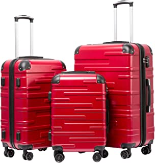 Luggage Expandable Suitcase 3 Piece Set with TSA Lock Spinner 20in24in28in (red)