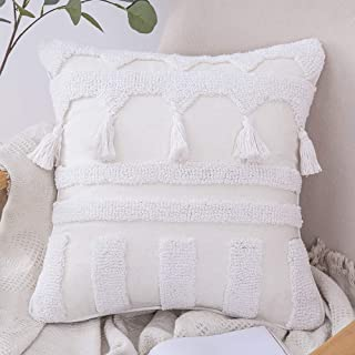 MIULEE 1 Stück Dekorative Boho Kissenbezug Baumwolle Dekokissen Super Weich Kissenbezüge Quaste Decor Kissenhülle für Sofa Couch Schlafzimmer Wohnzimmer 45x45 cm