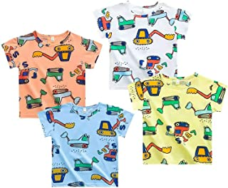 BRIGHTSHOW 4-Pack Boys' T Shirt Excavator Short Sleeve Crewneck T-Shirts Top Tee Size 2-7 Years Boys' Value T-Shirt