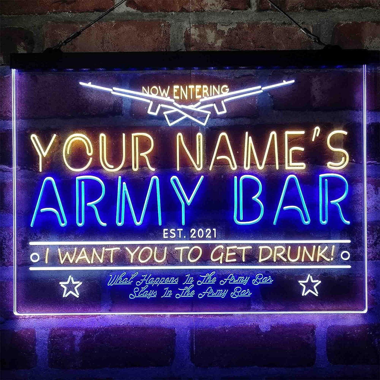 Charlotte Mall ADVPRO Rare Personalized Army Bar Tri-Color LED Sign Light a Un Neon