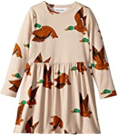 mini rodini - Ducks All Over Print Long Sleeve Dress (Infant/Toddler/Little Kids/Big Kids)