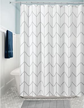 mDesign Decorative Modern Geometric Herringbone Print Shower Curtain - Swanky Shower Curtains with Reinforced Buttonholes for