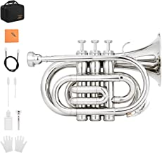 Eastar ETR-330N Pocket Trumpet Bb Nickel Plated Mini Trumpet B Flat with Hard Case, Gloves, 7 C Mouthpiece, Valve Oil, Trumpet Cleaning Kit