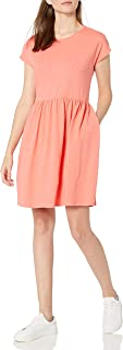 Goodthreads Vestido de Manga Corta con Cintura Reunida de algodón Pesado de Ajuste Relajado Vestido para Mujer