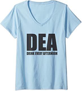 Womens DEA Drink Every Afternoon Funny Beer Drinking Pun V-Neck T-Shirt