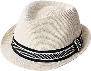 9189d525442 Packable Straw Fedora Panama Sun Summer Beach Hat Cuban Trilby Men Women  55-61cm
