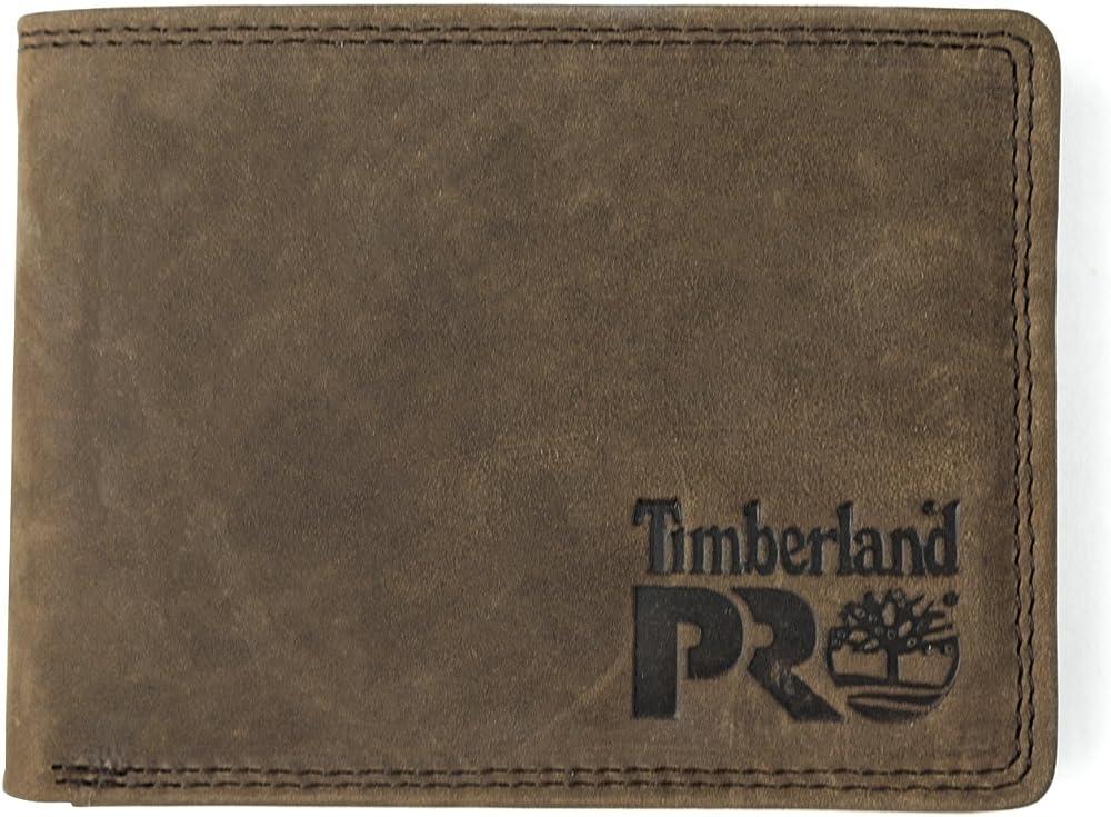 Timberland, portafoglio per uomo, in pelle,  con tasca rimovibile per carte di credito, marrone DP0020A