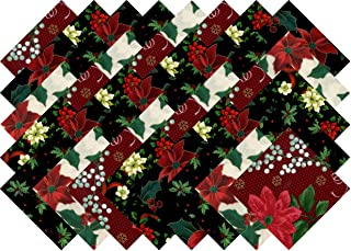 Christmas Poinsettia Holly Collection 40 Precut 5-inch Quilting Fabric Squares