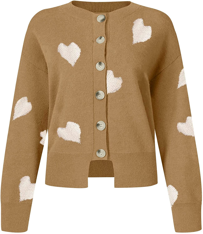 WUHOVILA Women's Long Sleeve Button Down Heart Print Classic Sweater Knit Cardigan