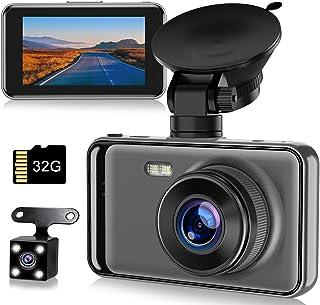【令和最新型】ドライブレコーダー 前後カメラ 高画質 32Gカード付き 1080PフルHD 2カメラ 170度広角 LED信号機対策 スーパーナイトビジョン 操作簡単 上書き機能 WDR技術 防犯カメラ Gセンサー搭載/駐車監視/動体検知/ルー...