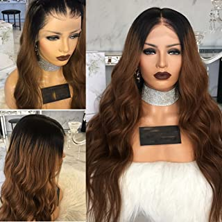 Carina Hair Full Lace Human Hair 8A Grade Wigs Ombre Brown 1B30 Color 130% And 150% Density Virgin Lace Front Wig with Baby Hair for Black Women by KRN (18inch, 130% density lace front wig)