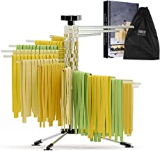 Pasta Drying Rack, Collapsible Spaghetti Stand Dryer up to 4.4lbs with 16 Rotating Dry Rods, Stainless Steel Base, Homemad...