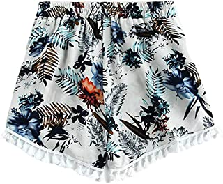 Womens Sexy Hot Pants Summer Casual Floral Mini Shorts Wide Leg Tassel Beach Shorts