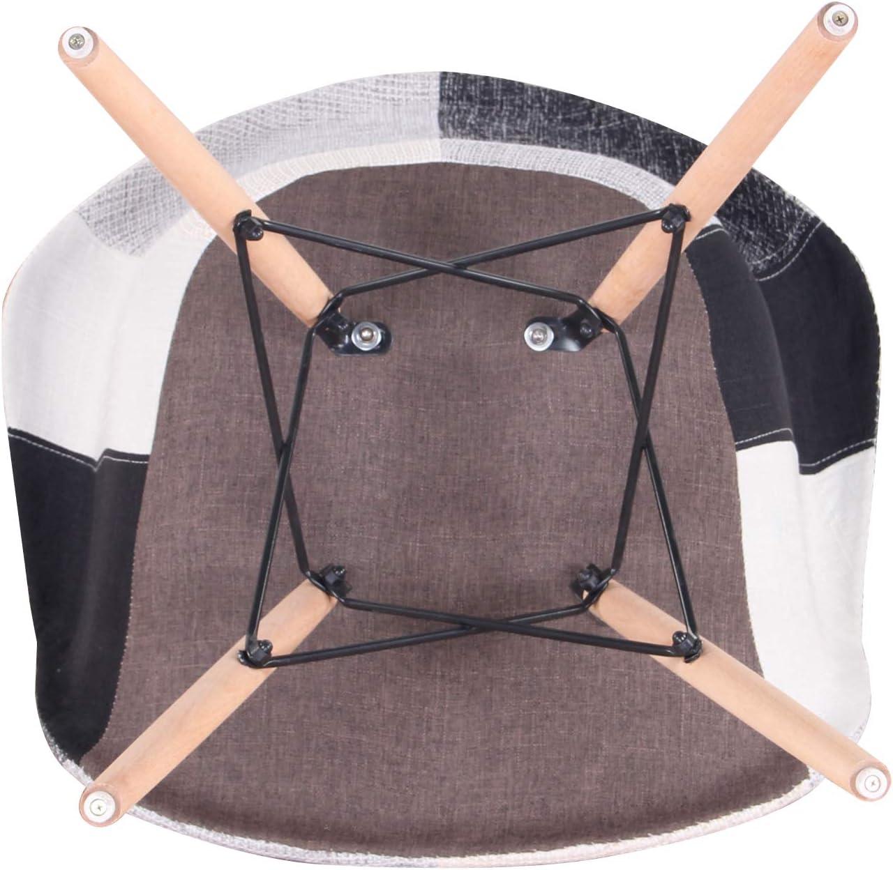 Fauteuil Patchwork Salle /à Manger, Convient au Salon Chaise de r/éception Chaise de Style Nordique EGOONM Lot de 2 chaises Chaise de Salle /à Manger Jaune
