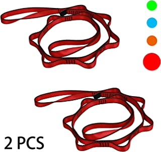 Geelife Daisy Chain Rope 2 pcs Looped Strong Straps 23 kN Climbing Lanyard Nylon Daisy Chains Multi Loop Aerial Yoga Webbing Sling 53 Inches