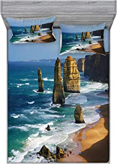 Lunarable Coastal Bedding Set with Sheet & Covers, 12 Apostles in Australia Rocky Face Sightseeing Panoramic View Picture, Printed Bedroom Decor 2 Shams, Queen, Caramel White Blue