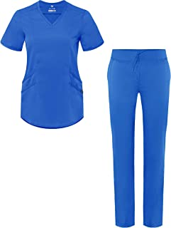 Adar Pro Core Classic Scrub Set for Women - Tailored V-Neck Scrub Top & Tailored Yoga Scrub Pants