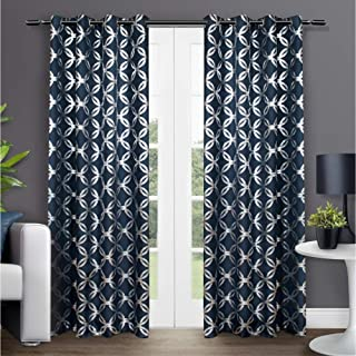 Exclusive Home Curtains Modo Metallic Geometric Window Curtain Panel Pair with Grommet Top, 54x96, Indigo, 2 Count