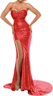 Women's Mermaid Evening Dress W/ Slit Sequins Prom Formal Gown