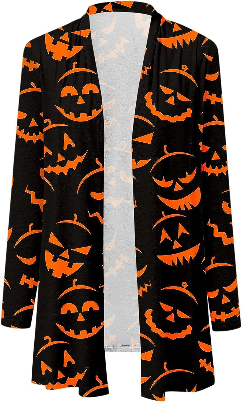 UOCUFY Halloween Cardigan for Women, Womens Funny Cute Pumpkin Ghost Graphic Long Sleeve Top Open Front Lightweight Coat