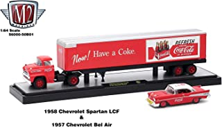 M2 Machines 1958 Chevrolet Spartan LCF and 1957 Chevrolet Bel Air Coke Red, Auto Haulers Coca-Cola Release 1/64 Diecast Car Model 56000-50B01