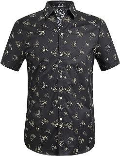 Men's Shark Printed Casual Button Down Short Sleeve Shirt