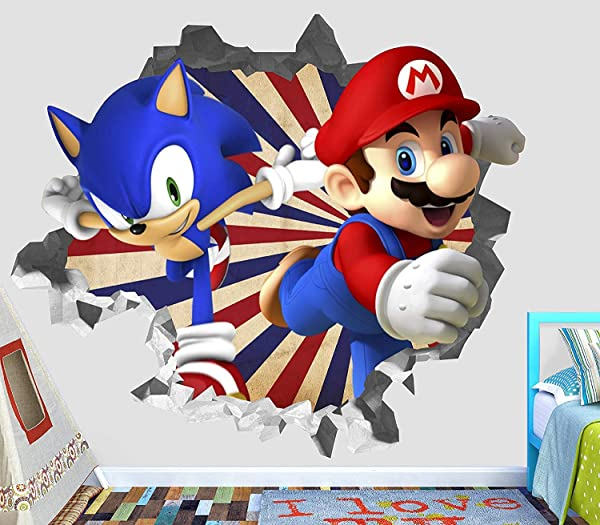 Mario Olympic Sonic Wall Decal Decor Sticker Kids Vinyl Decal 3D Wall Sticker Custom Your Photo ORP42100 Small 20 W X 14 H Inches