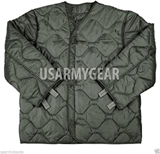Foliage Green Quilted M-65 Field Jacket Liner, U.S. Army Cold Weather Coat Insert 2XL XXL (XX-Large)
