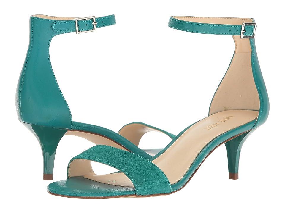 Nine West Leisa Heel Sandal (Dark Turquoise Leather) Women