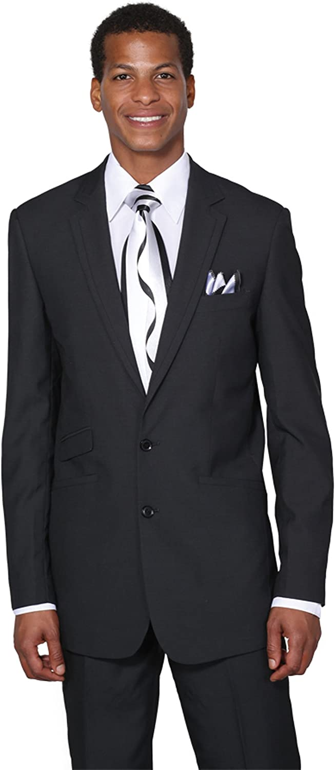 Milano Moda Men's 2 Button Single Breasted Dress Suit with Double Vents
