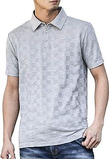 (エーエスエム) A.S.M メンズ ブロック ジャガード 半袖 ポロシャツ 02-62-9755