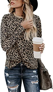Women's Casual Cute Shirts Leopard Print Tops Basic Long Sleeve Soft Blouse
