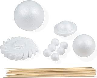 Foam Ball Solar System Kit - 10-Piece Polystyrene Foam Shapes and 12-Piece Bamboo Sticks