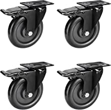 PRITEK 5 inch Heavy Duty Caster Wheels No Noise Swivel Plate Casters with Brake Lock Top Plate and Wheel Fit for Table Cabinet Shelves Industrial Trailer (Bearing 1400lbs, Set of 4)