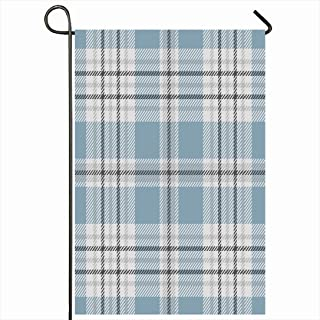 Ahawoso Outdoor Garden Flag 28x40 Inches Blue Check Tartan Plaid Pattern Traditional Flannel Checkered Gray Grey Golf UK Scottish Pale Border Seasonal Home Decor Welcome House Yard Banner Sign Flags