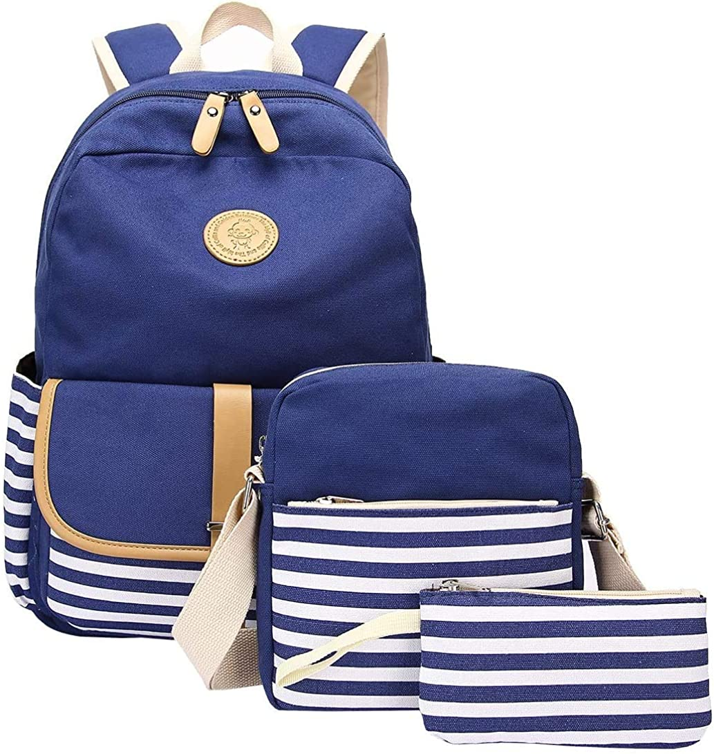 SQINAA School Backpack Student Canvas Bookbag with Shoulder Bags and Pen Case