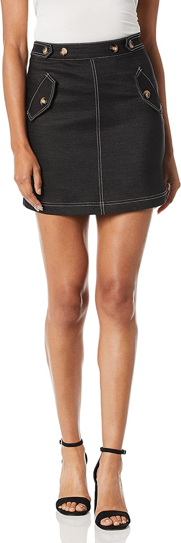 Moon River Women's Contrast Stitch Mini Skirt Skirt, Black, Small