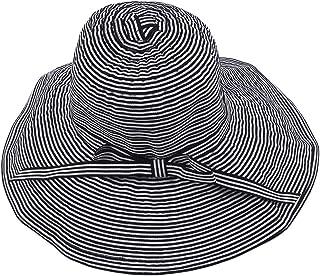 Yinew - Cappello da Pescatore a Tesa Larga, Traspirante, Pieghevole, con Fiocco a Righe, Poliestere Cotone, Nero, As Descr...