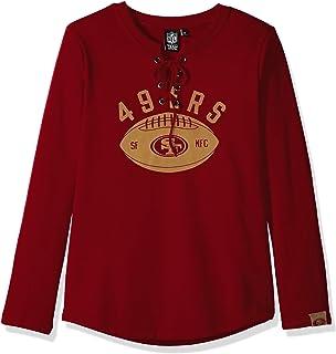 Icer Brands NFL San Francisco 49ers Women's Fleece Sweatshirt Lace Long Sleeve Shirt, Small, Red