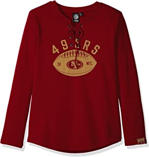 Icer Brands NFL San Francisco 49ers Women's Fleece Sweatshirt Lace Long Sleeve Shirt, Small, Red