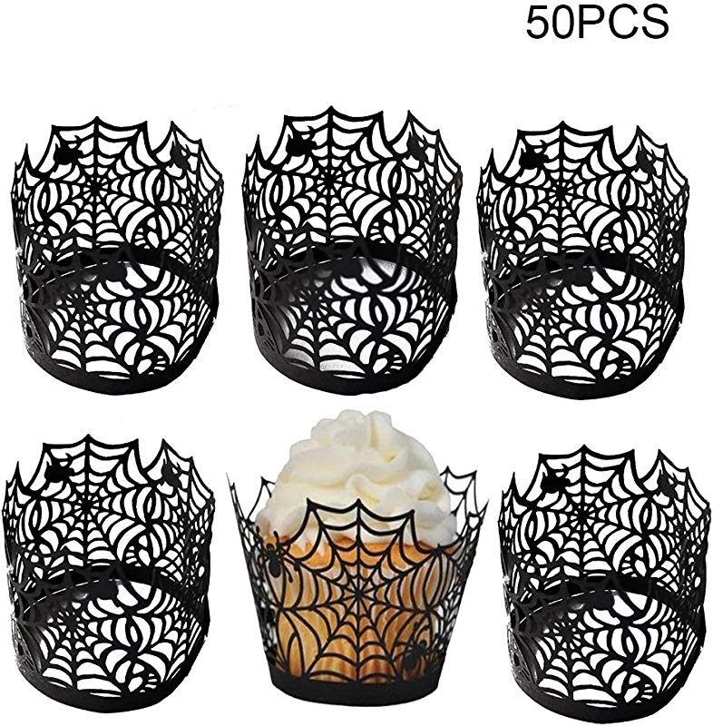 Hollow Out Halloween Cupcake Wrappers Amatted 50 PCS Baking Cup Muffin Case Trays Spider Web Shape Liner Baking Cake Paper Cup Wraps For Wedding Birthday Party Decoration