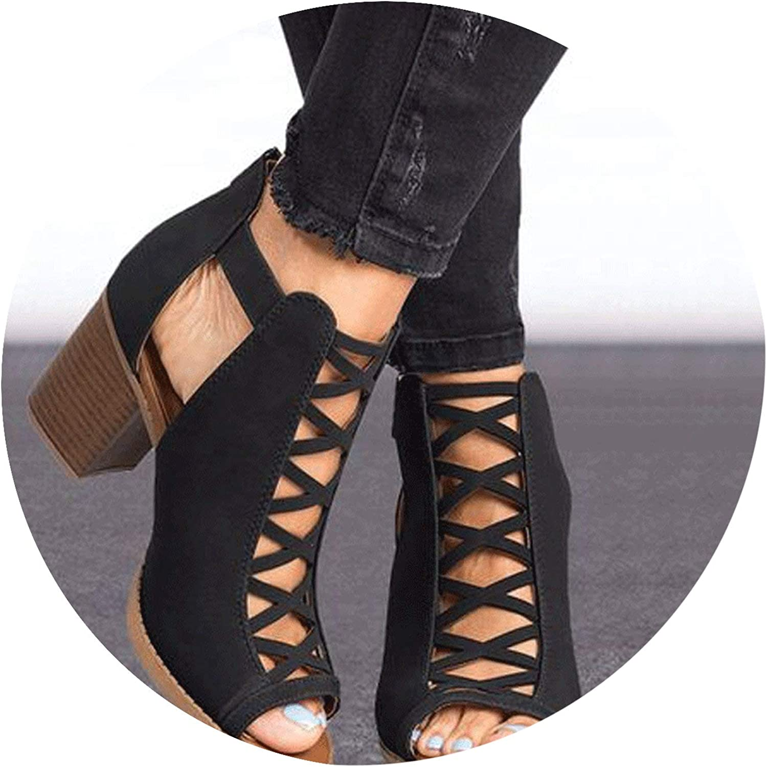 Women Sandals Summer Hot Fish Mouth Exposed Toe High-Heeled Sandals Romanesque shoes