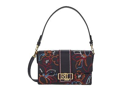 LAUREN Ralph Lauren Floral Embroidered Leather Spencer 25 Shoulder Bag Medium