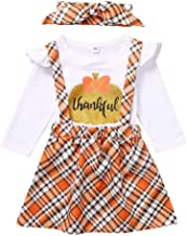 Musommer Girls Outfits Comfortable Toddler Kids Baby Girl Thanksgiving T Shirt Plaid Suspender Skirt Outfits Set