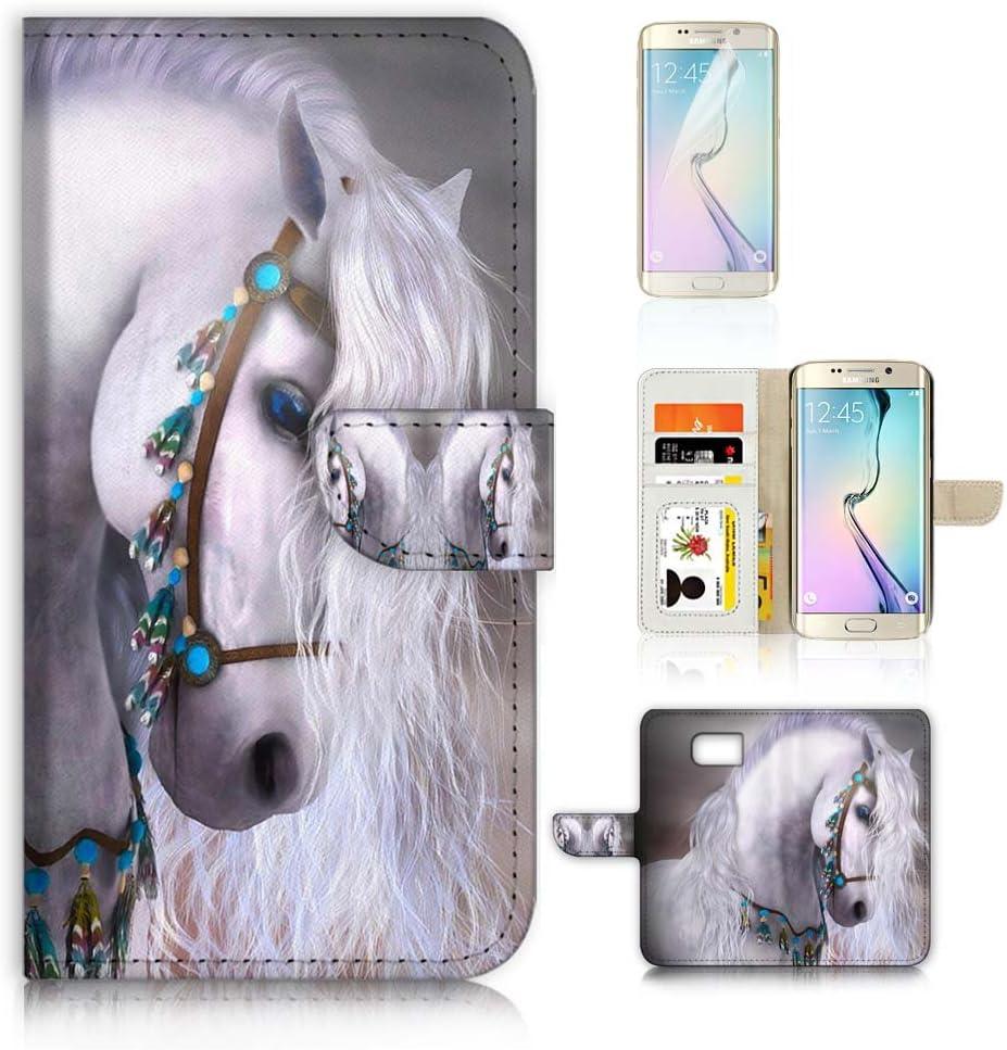 (for Samsung S7 Edge, Galaxy S7 Edge) Flip Wallet Case Cover & Screen Protector Bundle - A20470 White Horse Princess