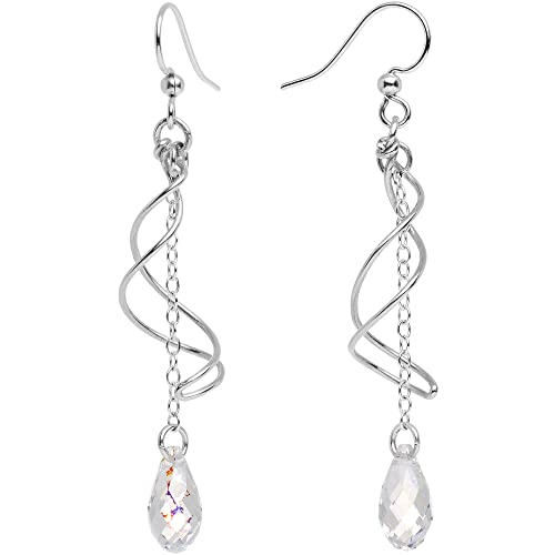f8b663b9a Body Candy Handcrafted 925 Silver Clear Teardrop Swirl Earrings Created  with Swarovski Crystals