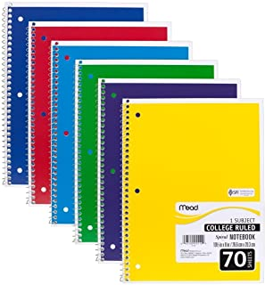 """Mead 05512 Spiral Notebook, College Ruled 7.5"""" x 10.5"""" 70 Sheets, 1 Subject, 6 Pack, Colors May vary"""