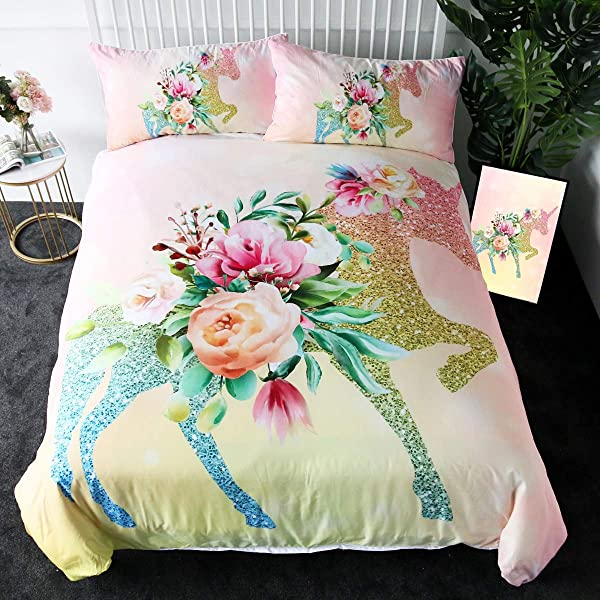 Sleepwish Floral Unicorn Bedding Full Girls Unicorn Pink Roses Duvet Cover 3 Pieces Green Fantasy Glittery Horse Bed Set
